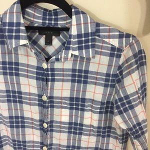 J Crew Lightweight Plaid Button Up Shirt